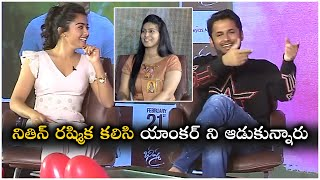 యాంకరమ్మని ఆడుకున్నారు | Nithin Rashmika Make Fun Of Anchor | Bheeshma Movie Interview | TFPC - TFPC