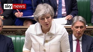 Theresa May is addressing the Commons on the Brexit backstop - SKYNEWS