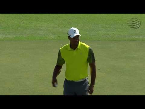 Tiger Woods's approach sets up birdie on No. 5 at Cadillac