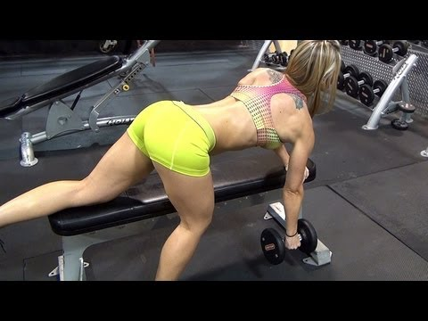Female Fitness Models Arms, Abs, and Back Exercise. Dumbbell Rows!