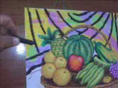 mewarnai buah buahan, colouring picture ( fruits )