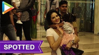 SPOTTED: Sunny Leone with Daughter at Hotel Sea Princess - HUNGAMA