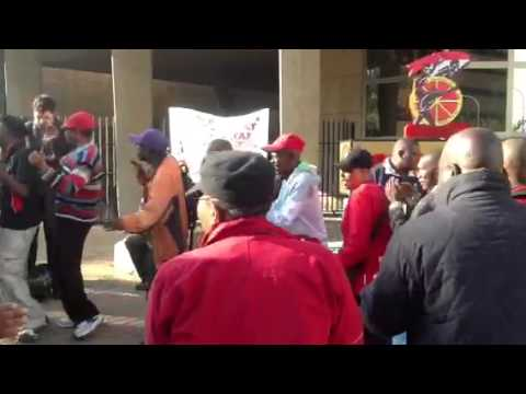 Cosatu protesting outside Cosatu House