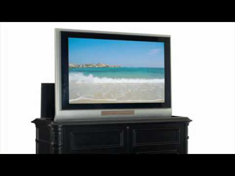 Crystal Pointe Black End of Bed TV Lift Console