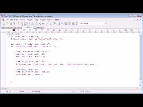 jQuery Tutorial - 130 - Creating a hover text plugin