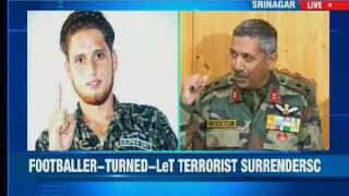 Anantnag's 20-year-old footballer Majid Khan who joined LeT recently and surrendered - NEWSXLIVE