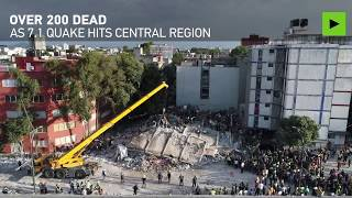 Mexico quake aftermath: Over 200 dead, dozens of buildings destroyed (drone footage) - RUSSIATODAY