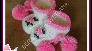 Пинетки с розочками или как связать пинетки спицами?how to knit booties spokes