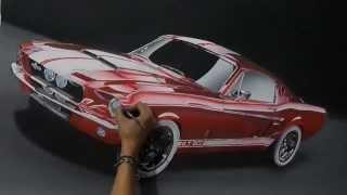 Pinté Un Ford Mustang Realista En Mi Cuarto