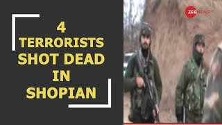 4 terrorists shot dead by security forces in J&K's Shopian - ZEENEWS