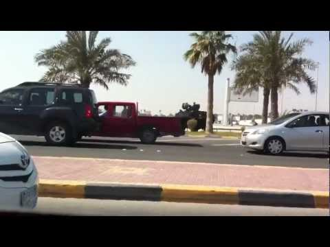 Bahrain: armored vehicles at the entrances to villages near the pearl roundabot  14 feb 2012