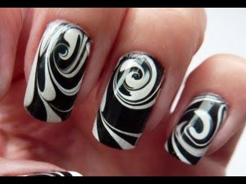 Water Marble For Short Nails, Black &