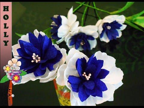 Видео урок, цветы из гофрированной бумаги, своими руками
