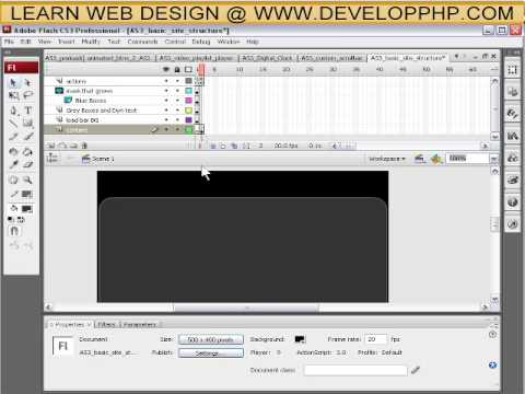 How to structure a full flash actionscript 3 web site tutorial CS3 + CS4 - Part 1