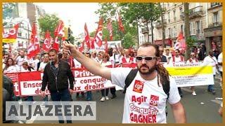 🇫🇷 Thousands of public workers protest against Macron's reforms   Al Jazeera English - ALJAZEERAENGLISH