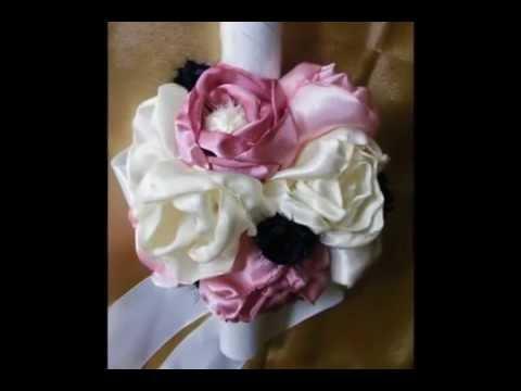 Aranjamente cu flori artificiale pentru lumanari de botez by Simona Man