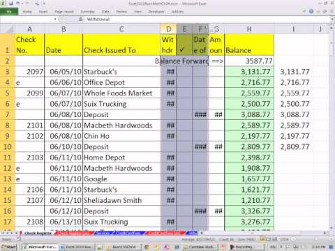 Excel 2010 Business Math 40: Create Checkbook Register In Excel Using IF function