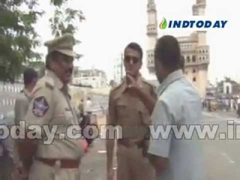 Heavy security in old city of hyderabad on the eve of 6th anniversary of Mecca Masjid bomb blast..