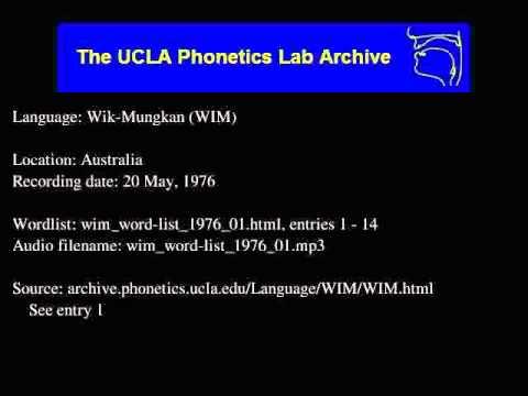 Wik-Mungkan audio: wim_word-list_1976_01