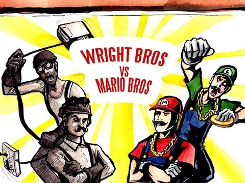 MARIO BROS vs WRIGHTBROS - Epic Drawing of History!