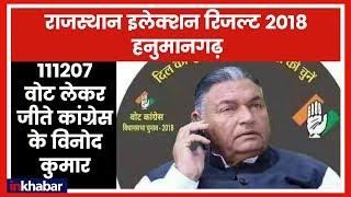 Rajasthan Election Results 2018: Hanumangarh में 111207 वोट लेकर कांग्रेस के विनोद कुमार विजयी - ITVNEWSINDIA