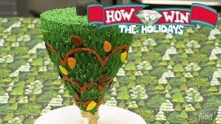 Gravity-Defying Upside-Down Christmas Tree Cake | Food Network - FOODNETWORKTV