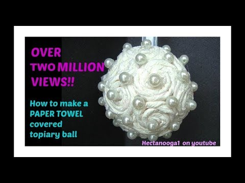 Paper Towel covered FLOWER BALL christmas ornament bridal wedding
