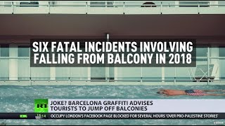Barcelona posters call for British tourists to 'practice balconing... it's lots of fun' - RUSSIATODAY