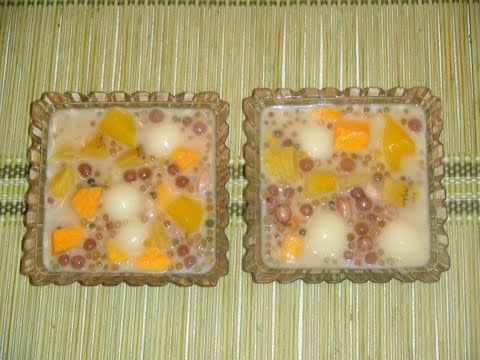 PINOY RECIPE - GINATAANG HALO HALO [COCONUT MILK WITH TAPIOCA AND MIXED FRUITS DESSERT]