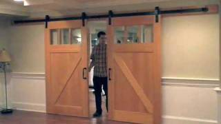 Interior Flat Track Sliding Barn Door Hardware   YouTube