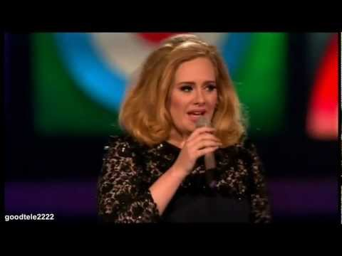 Adele cut off during her acceptance speech Brit Awards 2012 HD