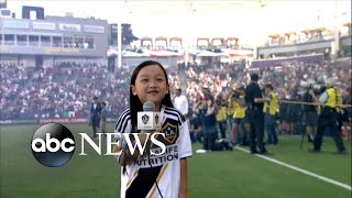 7-year-old sings national anthem before packed MLS crowd - ABCNEWS