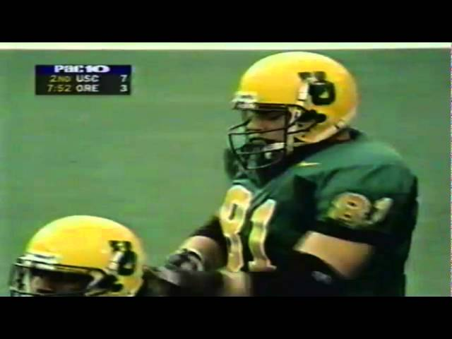 Oregon TE Jed Weaver first down catch and takes a big hit vs. USC 10-24-98