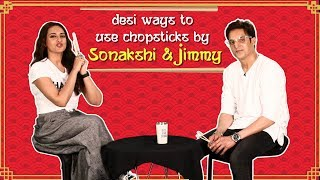Desi Ways To Use Chopsticks By Sonakshi & Jimmy | Happy Phirr Bhag Jayegi - ZOOMDEKHO