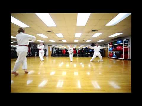 Martial arts class warm up exercises Tang Soo Do