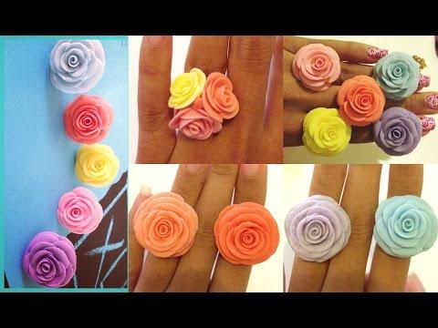 Flores De Ceramica En Frío/ Anillos.