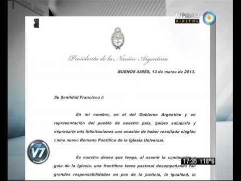 Cristina Fernández felicitó a Bergoglio