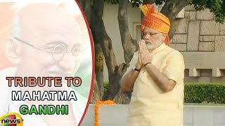 PM Modi Pays Tributes At The Samadhi of Mahatma Gandhi At Rajghat On 71st Independence Day - MANGONEWS