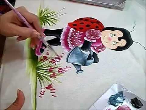 Joaninha Flor - Pintura em Tecido - How to paint country art