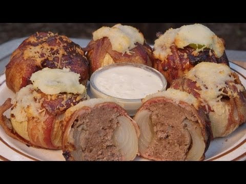 BarbecueWeb - Bacon Meatball Stuffed Onions by the BBQ Pit Boys - Or call them grilled Meatballs topped with Cheese and wrapped in Bacon and Onions if ya want. Nonetheless, they're good eating at the Pit and real easy to cook up on the ol' Barbecue Grill..! - YouTube's #1 Cooking Show for Barbecue and Grilling. Are you looking for barbecue and grilling recipes to serve up at your Pit, family picnic, or tailgating party? Then put your Barbecue Shoes on because we're serving up some delicious, moist and tender, and real easy to do cooking on the ol' BBQ grill.  To print out this recipe, or to get your BBQ Pit Boys Pitmasters Certificate, CLICK HERE http://www.BBQPitBoys.com.   To purchase our official T-Shirts, Mugs, Aprons, Scarfs, Hoodies, and more shipped to you anywhere in the world CLICK HERE http://bbqpitboys.spreadshirt.com    Are you a Grilling and BBQ fanatic or would like to be? Then start your own BBQ Pit Boys Chapter. Visit our Website to register http://www.BBQPitBoys.com and join over 1,200 BBQ Pit Boys Chapters formed worldwide.   Thanks for stopping by and for your continued support..! --BBQ Pit Boys
