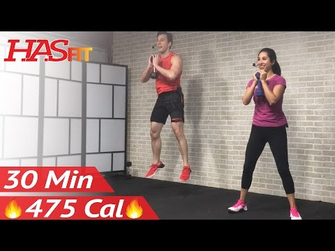 30 Minute HIIT Tabata Workout with Weights - Full Body Dumbbell High Intensity Workout at Home