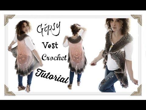 Crochet Gipsy Vest adult Tutorial