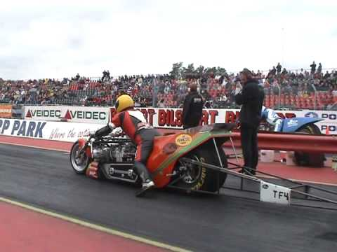 Top fuel drag bike: Sverre Dahl 6.42sec@364kmh, Mantorp 2005