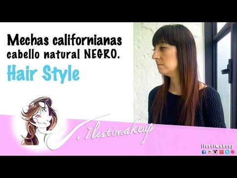 Mechas californianas en cabello negro