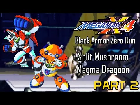 Mega Man X4 - Black Armor Zero Part 02: Split Mushroom, Magma Dragoon | Too Much Gaming