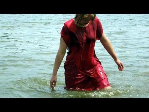 wetlook petra wet red dress2