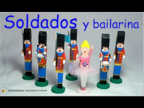 Manualidades: soldados y bailarina hechos con pinzas de madera /Crafts wooden pegs