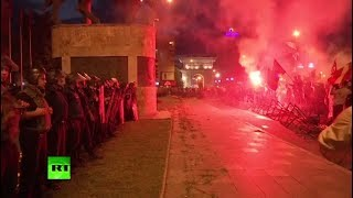 Stones, torches & tear gas: Macedonians protest country's name change - RUSSIATODAY