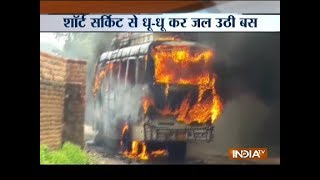 Passenger bus catches fire due to short circuit in Jharkhand - INDIATV