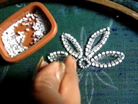 hand embroidery bead work chain stitch